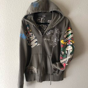 "Authentic ""Ed Hardy"" zip up hoodie."